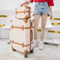 BeaSumore Rolling Luggage Set Spinner Uisex Travel bag Retro Suitcase Wheels Password Trolley 20 inch Student Carry On Trunk