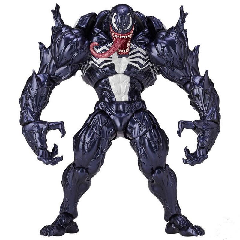 FIGMA Series NO.003 Revoltech Venom No.002 Spiderman No.001 Deadpool With Bracket PVC Action Figure Collection Model Toy 15cm (3)