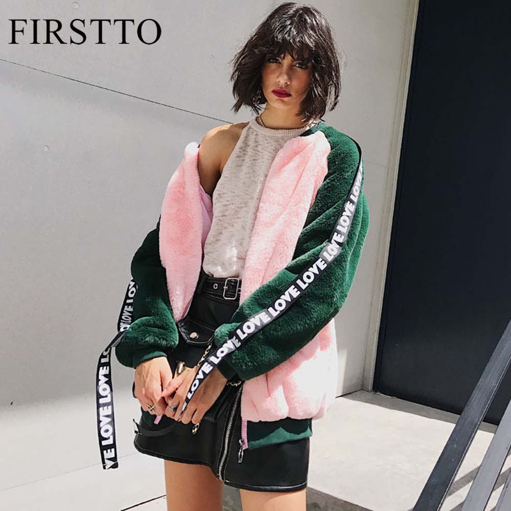 FIRSTTO Fashion Long Sleeve Letter Streamer Hairy Shaggy Faux Fur Baseball Bomber Jacket Warm Woman Contrast Color Outerwear Top