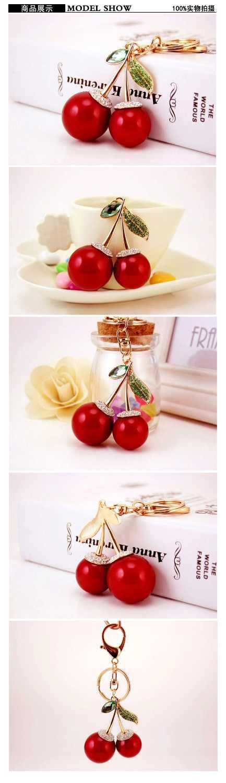 SHIYING 2019 vermelho Cereja frutas Bonito Strass Olá Kitty Chaveiro Mulheres Carro Bolsa Pingente Chaveiro Chaveiro Presente Da Menina