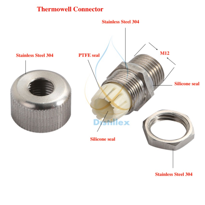 Conector thermowell para sensores de diâmetro 4-10mm, aço inoxidável 304, selo de silicone