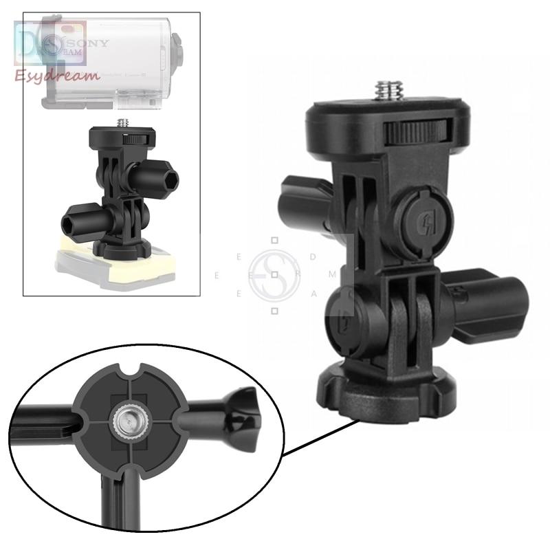 3-Way 1/4 Parafuso Adaptador de Montagem do Tripé Acessórios para a Ação Sony câmera AS100V AS30V AS20 AS200V AS300 HDR AZ1 X3000 Como VCT-AMK1
