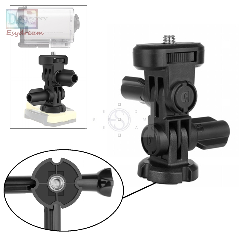 3-Way 1/4 Screw Tripod Mount Adapter Accessories for Sony Action Camera AS20 AS30V AS100V AS200V AS300 HDR AZ1 X3000 As VCT-AMK1