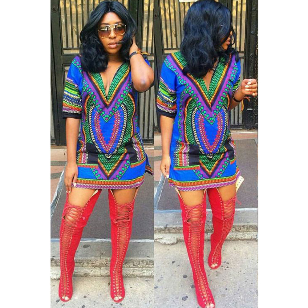 71b0985557 African fashion design african traditional print Dashiki T tee Shirt dress  african women bazin dress-in Africa Clothing from Novelty   Special Use on  ...