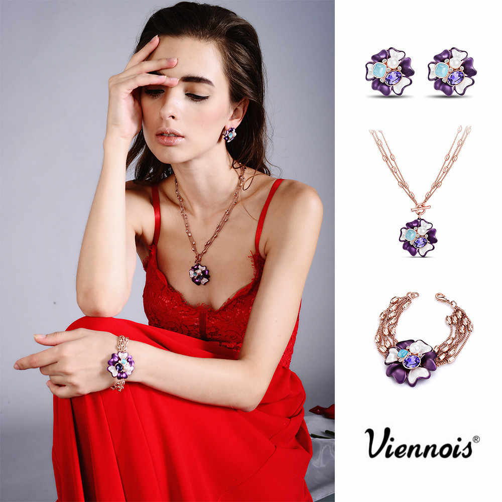 Newest Viennois Fashion Jewelry Rose Gold Color Flower Pendant Necklace Purple Crystal Opal Stone Chain Necklaces