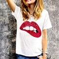 Nuevo Llega Señora de Las Mujeres 2016 Verano Estilo Boca Camisa de Lentejuelas de Manga Corta T-Shirt O-cuello de la Camiseta S-XXL