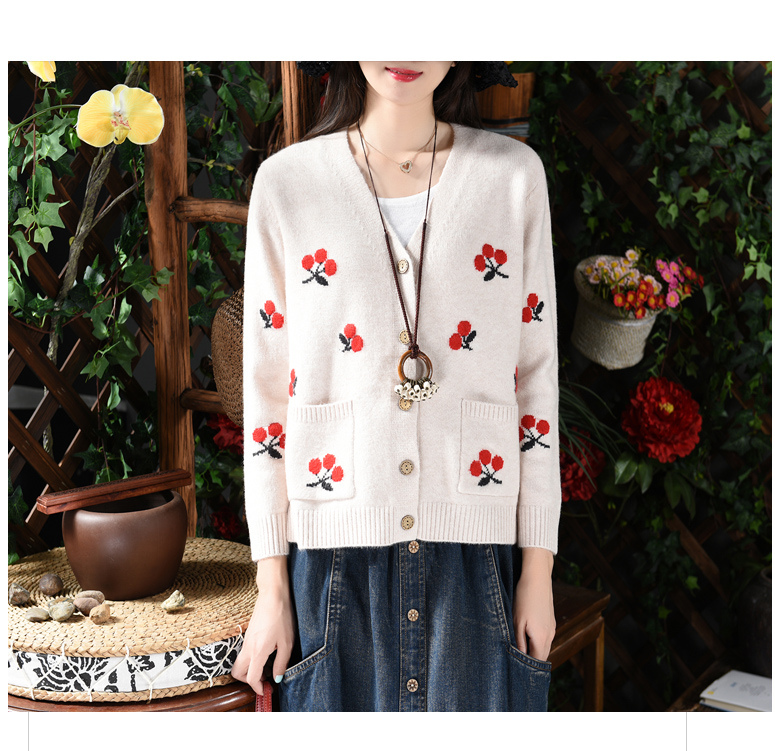 Sweet cherry embroidery v neck long sleeve sweater cardigan 2018 autumn  winter mori girl-in Cardigans from Women s Clothing on Aliexpress.com  aa6430421