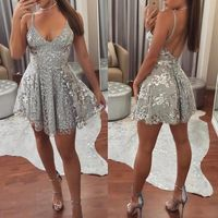 Sexy Cocktail Dresses Female Spaghetti Straps V Neck Backless Vestidos Coctel Mujer 2018 Women Shiny Sequined Mini Robe Cocktail