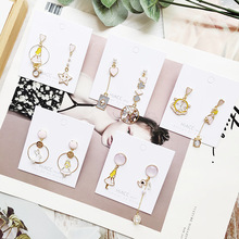 Women Cartoon Alice Clock Anti-allergy Asymmetry Drop Dangle Earrings Korea Handmade Fashion Jewelry Gift Holiday-JQD5