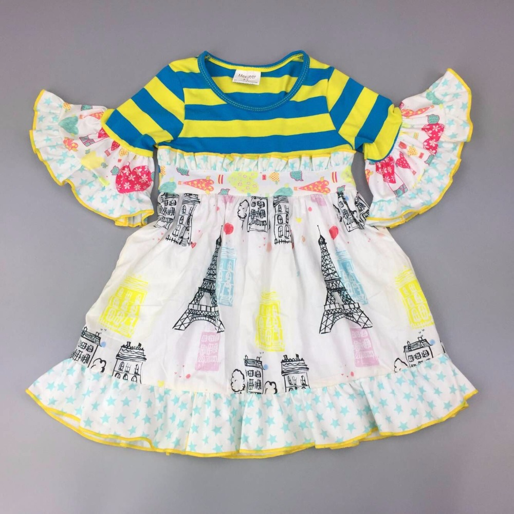 Cotton Baby Girls dress autumn middle sleeve  boutique Infants  toddler Kids ruffles striped  big girl  princess dress frocks Cotton Baby Girls dress autumn middle sleeve  boutique Infants  toddler Kids ruffles striped  big girl  princess dress frocks