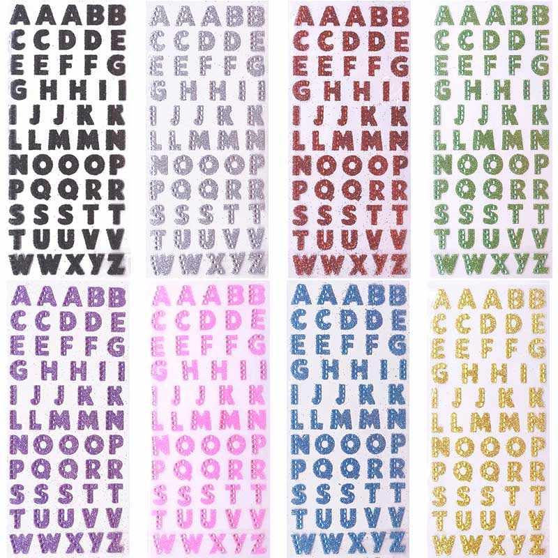2 levha 26 İngilizce mektup alfabe PVC parlaklık Sticker için DIY el yapımı Scrapbooking Sticker dekorasyon çocuklar günlüğü hediye çıkartmaları