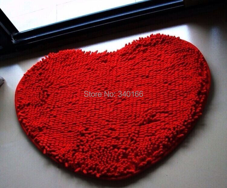 50*60cm-Modern Heart Shape Microfiber Chenille Carpet Heart Cushion Shaggy Mats Waste-absorbing Slip-resistant Pad 13 Colors