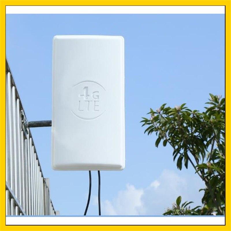 2 * 24DBI LTE antenne MIMO extérieure 4G double panneau de polarisation antenne SMA connecteur mâle (blanc) 10 M câble