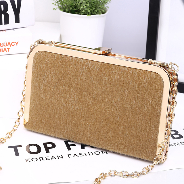Newest Women Luxury Fur Clutches Fashion Rabbit Fur Evening Bag Wedding Party Banquet Bags Handbag Purse Chain Shoulder Bag