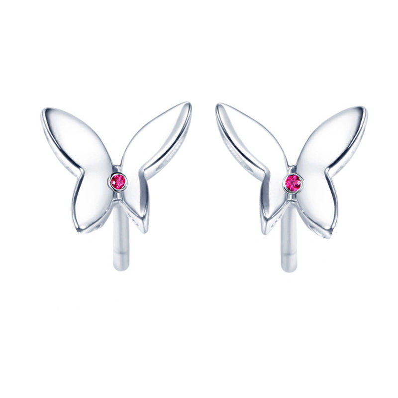 Solid 18k White Gold Stud Earrings Natural Ruby Women Earrings Butterfly Trendy Fine Jewelry Anniversary Birthday Gift 18k rose gold women stud earrings double balls fine engaged wedding jewelry fashion female delicate gift hot sale trendy party