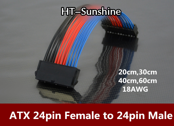 5pcs Free Shipping ATX 24pin Female to 24pin Male Sliver Power Cable 18AWG colorful cable free shipping 5pcs irfp460pbf irfp460 to 247 ic 100