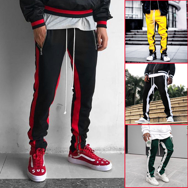 BINHIIRO Men's Casual Pants Stitching Mixed Cotton Micro-elastic Jogging Trousers Men 2018 Autumn Fashion Casual Trousers K55