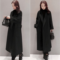Plus Size Women Winter Wool Long Coat 2018 Vintage Elegant Clothes Loose Fashion Korean Coat