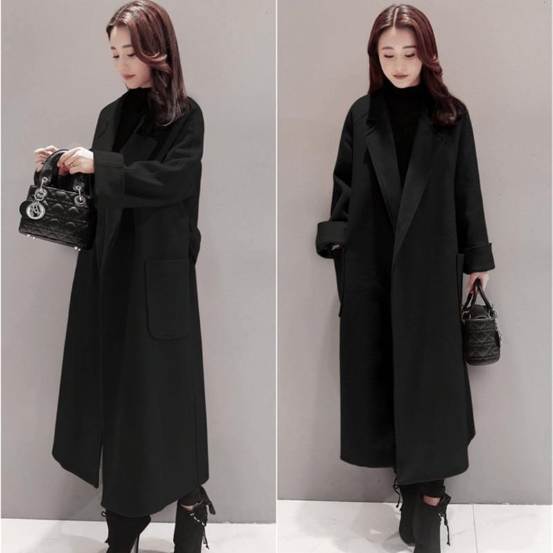 Plus la Taille Femmes Hiver Laine Long Manteau 2018 Vintage Élégant Vêtements Lâche Mode Coréenne Manteau