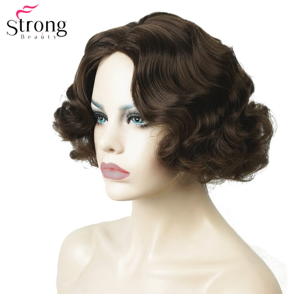 StrongBeauty Finger Wave Hairstyles Short Black Hair Wig Curly Synthetic
