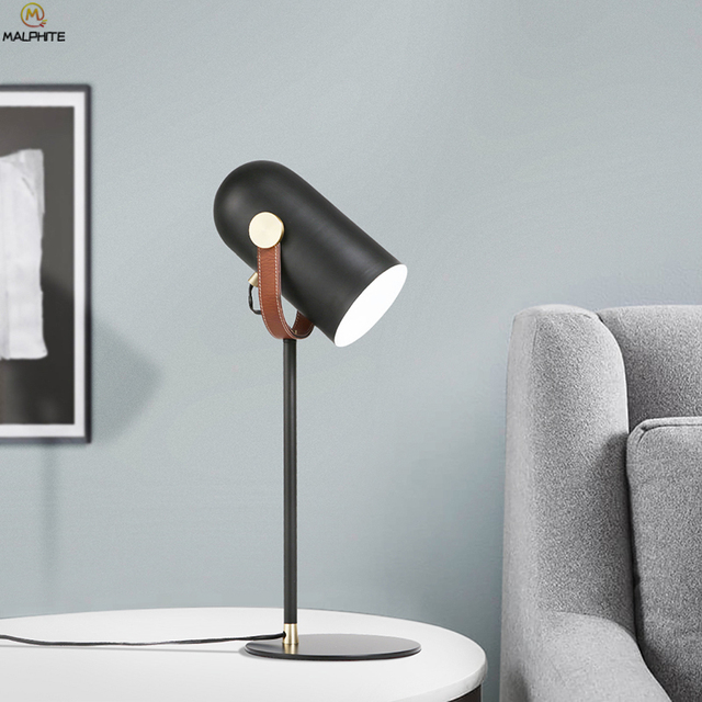 Modern Iron Table Lamp Leather Straps Black Industrial Desk Lamps