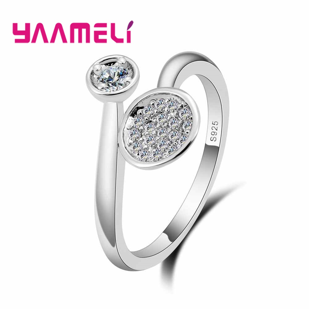 YAAMELI Trendy Women CZ Zircon 925 Sterling Silver Adjustable Rings Jewelry Fashion Wedding Bands Crystal Finger Ring Acessory ...