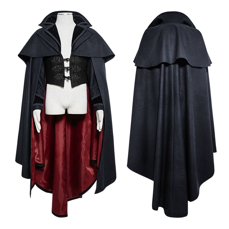 Готический синий плащ с капюшоном мужские длинные пальто стимпанк Хэллоуин вампир накидка летучая мышь Свободный плащ без рукавов пальто ... - 4