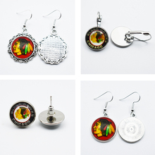 3Style Glass Time Gem Sports Puck Charm NHL Chicago Blackhawks Jewelry Stud/Pendant Earrings For Fans