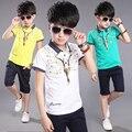 Adolescente meninos roupas summer set-top de manga curta + calça 2 peças animais imprimir crianças terno roupa dos miúdos branco