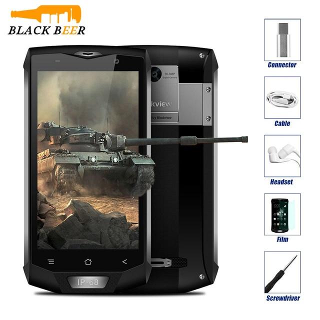 """البلاكفيو BV8000 برو IP68 مقاوم للماء الهاتف المحمول MTK6757V ثماني النواة أندرويد 7.0 الهاتف المحمول 5.0 """"FHD 6GB RAM 64GB ROM 4000mAh NFC"""