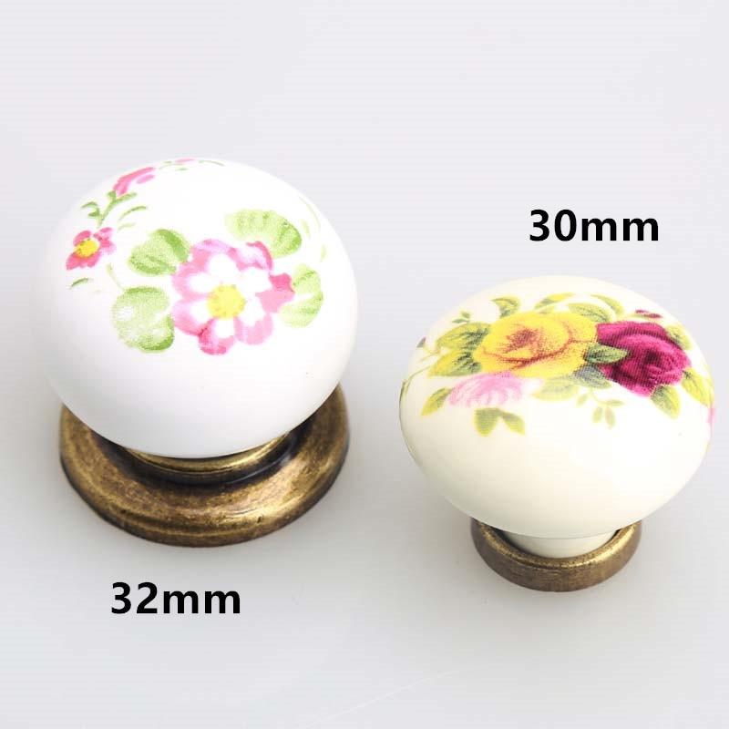 Drawer knobs pulls handles dresser pulls handles knobs rustico retro fashion rural ceramic furniture knobs 32mm bronze knob 30mm