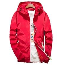 Spring Autumn Men Thin  Jacket With Hooded Slim Fit Yong Men Boy Coat Student Windbreaker Jacket Fashion men's coat thin S-7XL