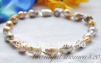 "Jewelry 00498 Huge 17"" 21mm lavender baroque KESHI REBORN PEARL NECKLACE mabe clasp"