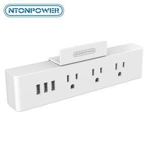 Image 1 - NTONPOWER MNC Treo Tường Nguồn USB Ổ Cắm Tiêu Chuẩn MỸ Cắm Điện 3 Ổ Cắm Điện 3 CỔNG USB Cổng Sạc Thông Minh với giá Đỡ điện thoại