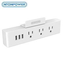 NTONPOWER MNC الحائط USB السلطة المقبس الولايات المتحدة القياسية قابس كهربائي 3 مخرج تيار متردد 3 USB الذكية شحن منافذ مع حامل هاتف