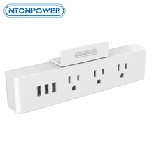 NTONPOWER MNC Wall Mounted USB Power Socket US Standard Electrical Plug 3 AC Outlet 3 USB Smart Charging Ports with Phone Holder