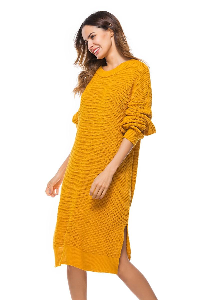 Fall Winter Vintage Mustard Side Slit Crochet Sweater Dress for Women Cute Ladies Retro Cosy Loose Split Pullover One Size 24