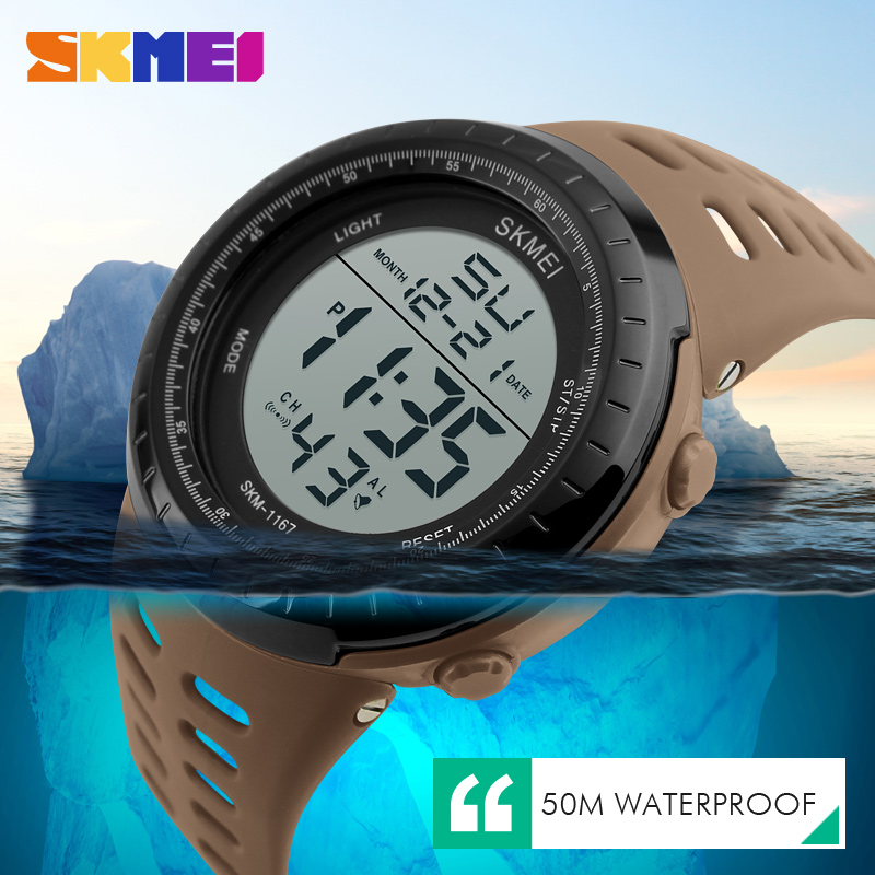 <font><b>SKMEI</b></font> Mens Watches Luxury Sport Army Outdoor 50m Waterproof Digital Watch Military Casual Wristwatches Relogio Masculino <font><b>1167</b></font> image