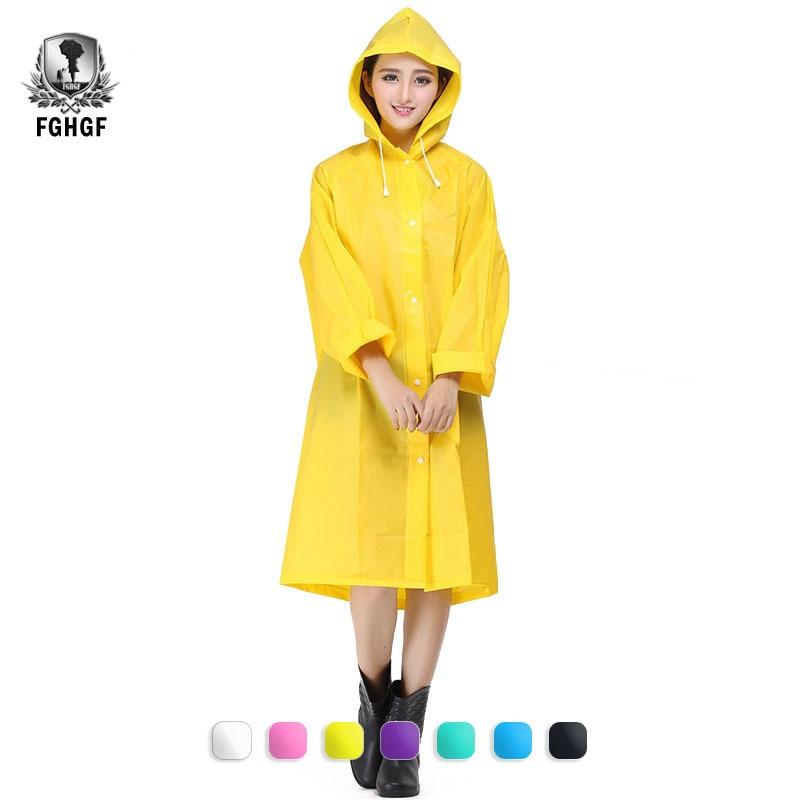 FGHGF Women Men EVA Fashion Outdoor Travel Waterproof Riding Clothes Raincoat Poncho Hooded Knee Length Rainwear Rain Gear