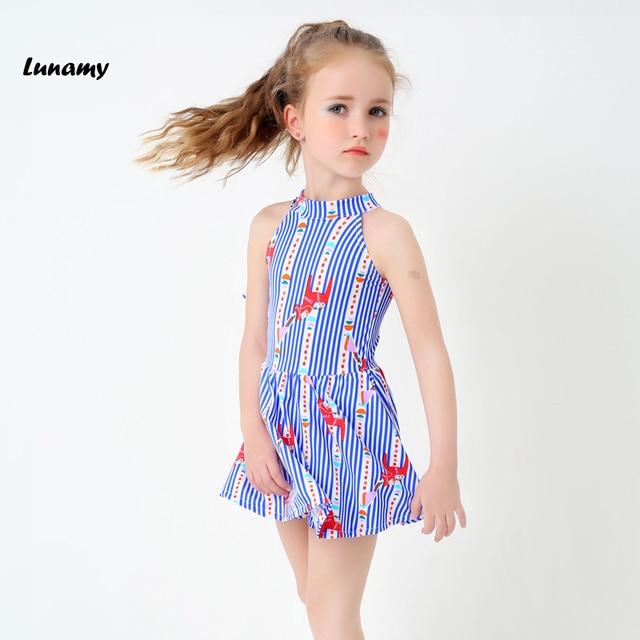 fd54c65db343 Kids Children One Piece Swimsuit Blue Striped Girl Swimwear Skirt Cute  Little Princess Skirt Bathing Suit With Swimming Pant