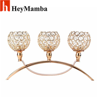 HeyMamba 3-arms Crystal Candle Holder Metal Silver Plated Candlestick For Home Wedding Candelabra Centerpieces Decoration