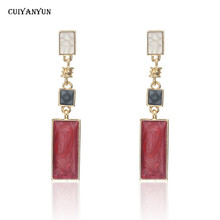CUIYANYUN fashion square dangle earrings women lady red black white jewelry 2019 cute metal long drop wedding party