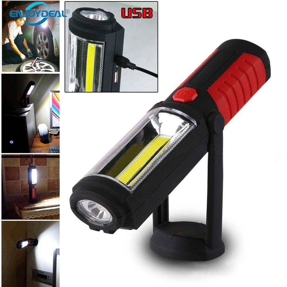 Led Work Light Magnet Lamp Torch Rechargeable Cordless: Portable COB Flashlight Torch USB Rechargeable LED Work