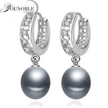 Beautiful Freshwater Gray Pearl Earrings For Women,wedding 925 Sterling Silver Jewelry Black Natural Girls Gift