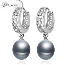 Schöne Süßwasser Grau Perle Ohrringe Für Frauen, hochzeit 925 Sterling Silber Schmuck Schwarz Natürliche Perle Ohrringe Mädchen Geschenk