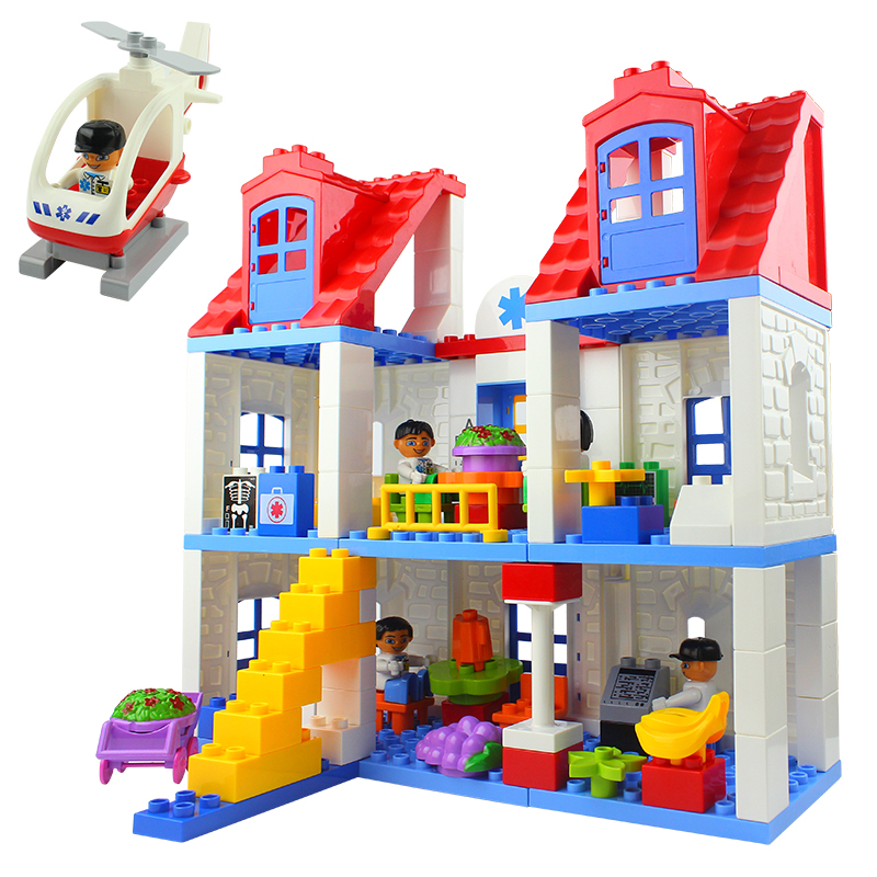 120pcs/76pcs Hospital Building Brick Big Size Blocks brick nosocomium Model infirmary rescue blocks Compatible With Duplo Block kid s home toys brand large particles city hospital rescue center model building blocks large size brick compatible with duplo