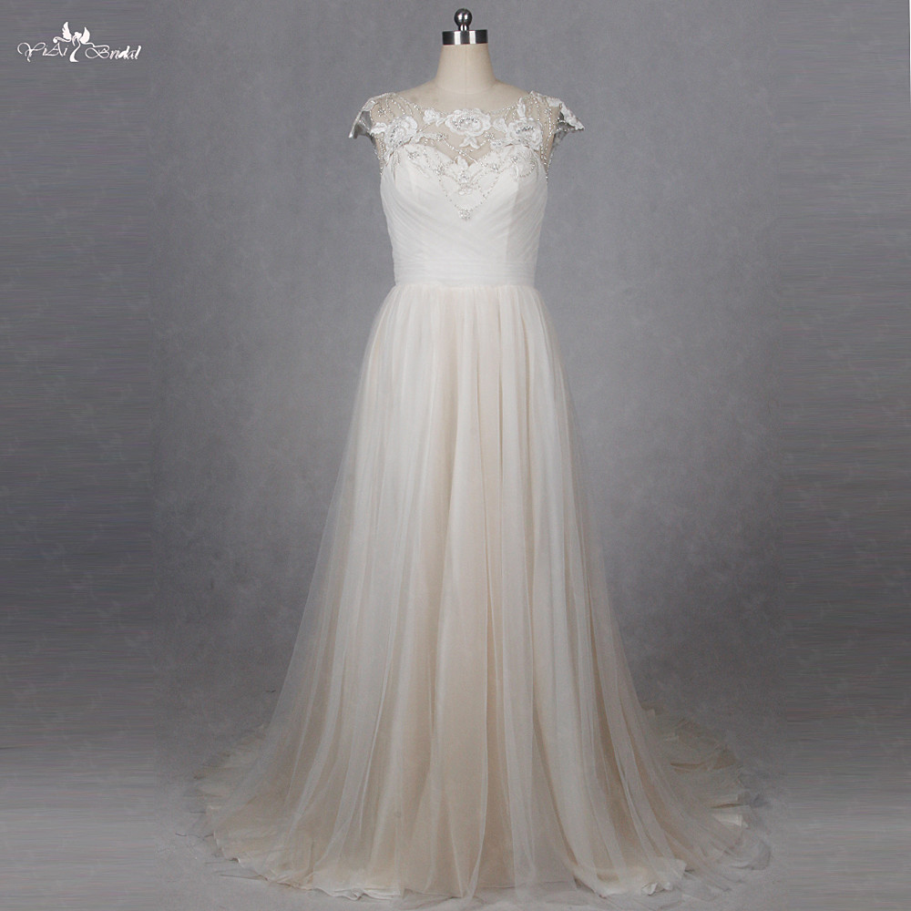 Rsw1270 simple elegant cap sleeve champagne colored for Colored beach wedding dresses