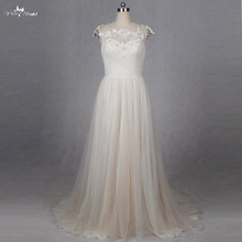 yiaibridal RSW1270 Simple Cap Sleeve Beach Wedding Dress