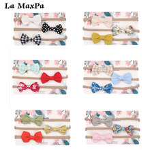 3Pcs/Set Print Baby Headband With Bow Tie Dots Flower HeadBands BabyClothing Elastic  Girls Gift Headwear Kids Hair Accessories