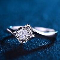 Роскошные ГИА алмаз Обручение кольцо пасьянс для Для женщин 0.2ct натуральный GIA diamond классической Дизайн 4-коготь обручальное
